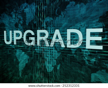 Upgrade text concept on green digital world map background  - stock photo