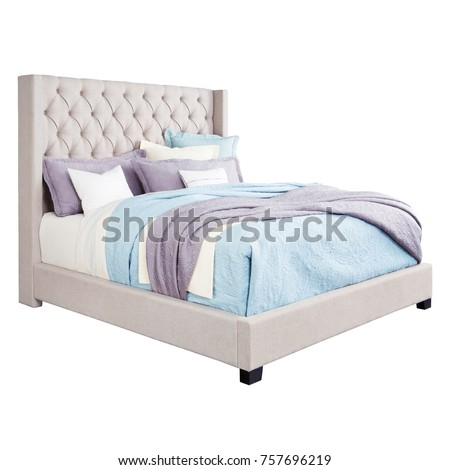 queen bed side view. Upholstered Bed Isolated On White Background. Queen -Size Wooden With High Tufted Headboard Side View