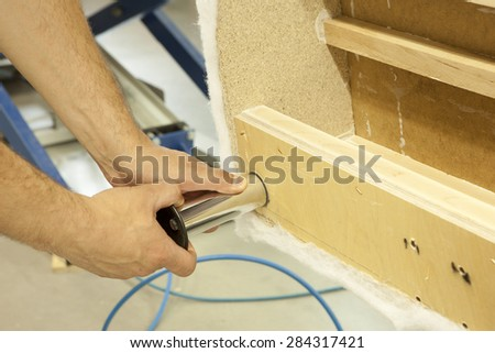 Upholstered furniture - mounting feet - stock photo