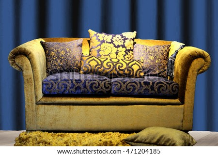 upholstery fabric golden / Blue couch