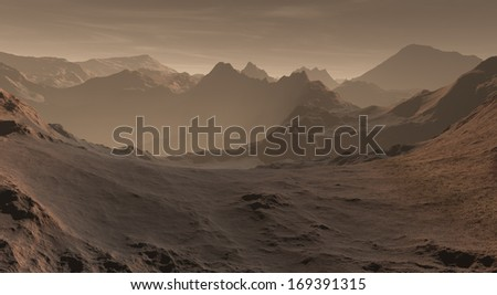 Upland Martian peaks with drifting dust deposits  - stock photo