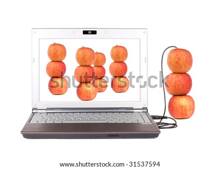 Upload and Copy real apple into laptop by USB - stock photo