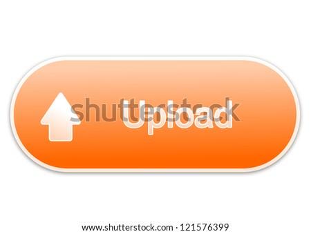 Upload button orange - stock photo