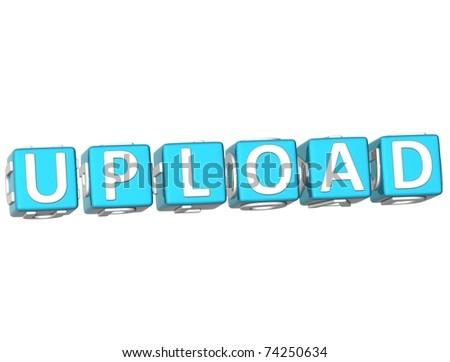 Upload Cube text - stock photo