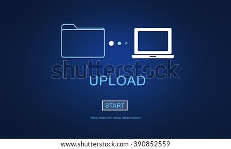 Upload Sharing Transfer Files Computer Concept - stock photo