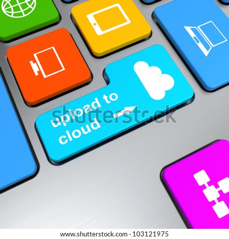 upload to cloud button on computer keyboard - stock photo