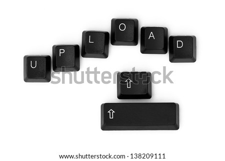 UPLOAD word written on a keyboard. Isolated on a white background.