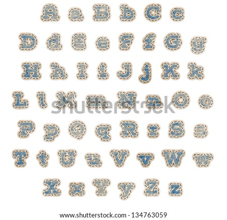 Upper and lower case alphabet in blue denim fabric patches with brown stitching and beige outline with clipping path - stock photo