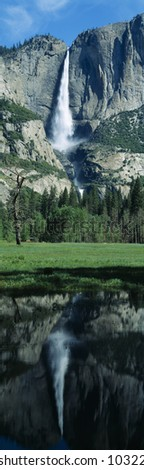 Upper and Lower Yosemite Falls and reflection in Spring, California - stock photo