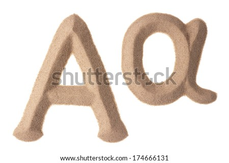 Upper and lowercase of Greek Alpha sign sculptured in sand - stock photo