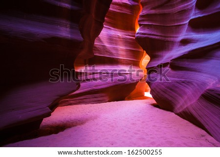 Upper Antelope Canyon in Page, Arizona, United States. - stock photo