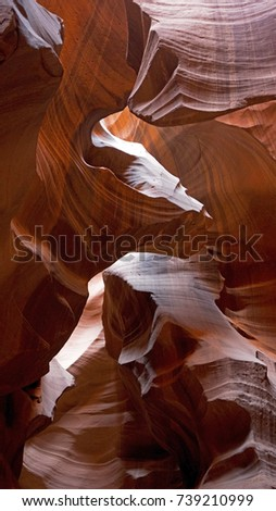 Upper Antelope Canyon is a slot canyon, result of eroded Navajo Sandstone, very popular and photogenic touristic destination close to Page in Northern Arizona.