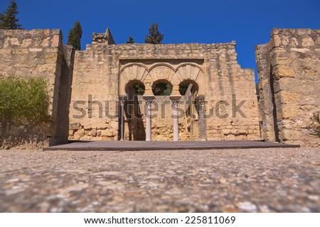 Upper Basilica Building on  Archaeological Site of Medina Azahara, Madinat al-Zahra, Near Cordoba, Andalusia, Spain - stock photo