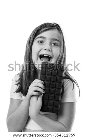 Upper body studio shot of a pretty young girl isolated on white - stock photo