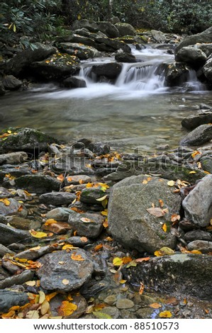 Upper Boone Fork Trail Autumn Scenic Vertical - stock photo