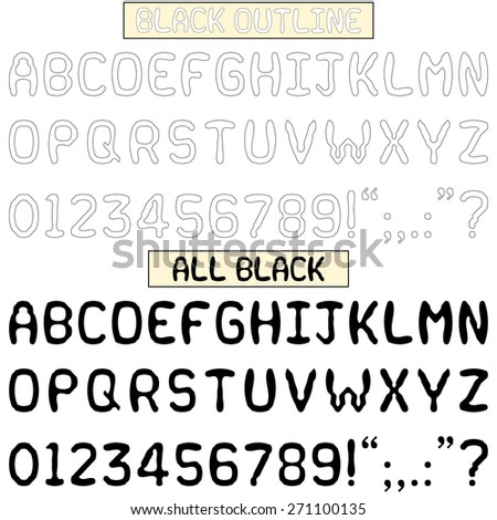 Upper case alphabets, numerals and punctuation characters in a quirky fun font. Isolated on white in all black and black outline variations. Lower case (ID:271100138). - stock photo