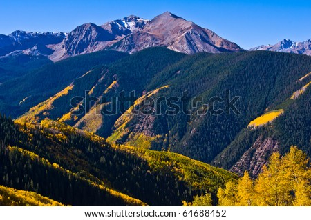 Upper Castle Creek Valley south of Aspen, Colorado featuring Mt. Hayden in full autumn color - stock photo