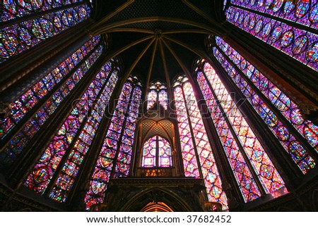 Upper Chapel of Saint Chapelle, a quintessential chapel in Paris, France, famous for its spectacular stained glass windows. - stock photo