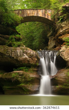 Upper Falls at Old Man's Cave, Hocking Hills State Park, Ohio. - stock photo