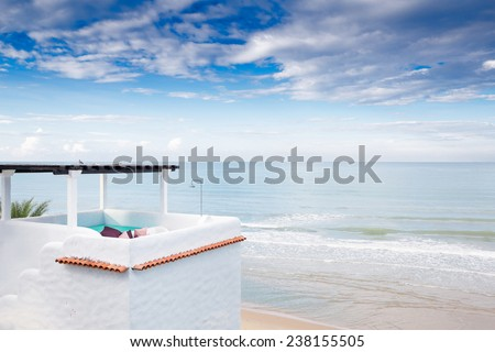Upper Floor Terrace Over Sea View With Blue Sky - stock photo