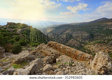 Upper Galilee mountains with fragment of ruins of Nimrod fortress. North of Israel. - stock photo