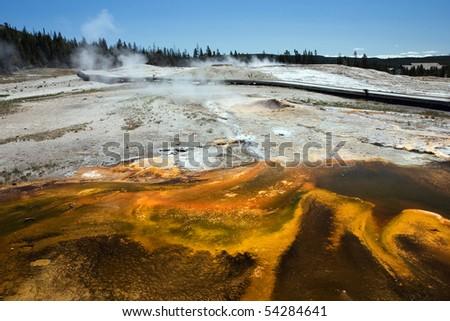 Upper Geyser Basin in Yellowstone National Park - stock photo