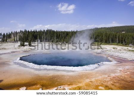 Upper geyser basin Yellowstone - stock photo