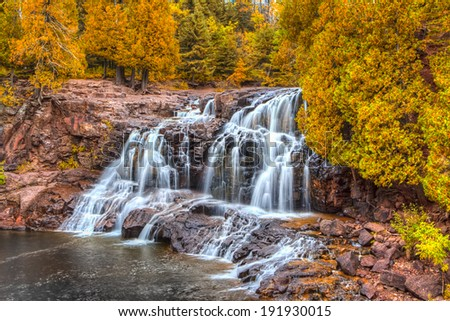 Upper  Gooseberry Falls Along Minnesota's North Shore in Indian Summer - stock photo