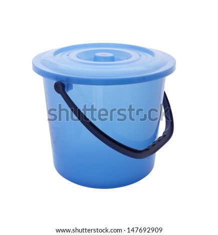 Upper side blue bucket with cover on white background.