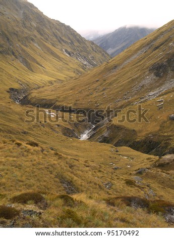 Upper Snowy Creek Valley, Rees-Dart track, New Zealand
