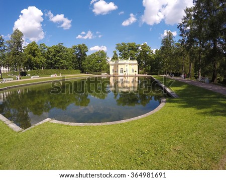 Upper Trough or Mylnya of Their Highnesses pavilion on the bank of the Mirror pond. Catherine Park. Pushkin (Tsarskoye Selo). Petersburg - stock photo