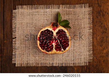 Upper view of a half grenadine on a canvas - stock photo