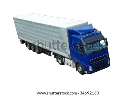 upper view of blue lorry with grey trailer (isolated).