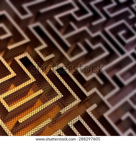 Upper view of 3D designed labyrinth, focusing on an enlighted area - stock photo