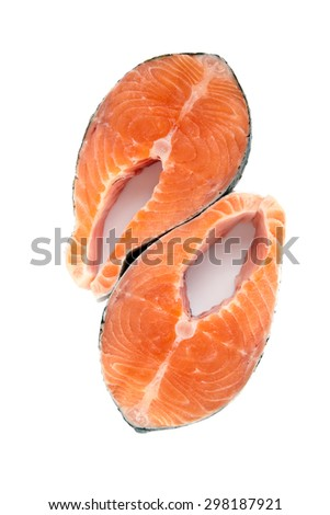 upper view of two raw salmon steakes isolated on white background - stock photo