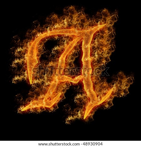 Uppercase Letter A Engulfed in Flames