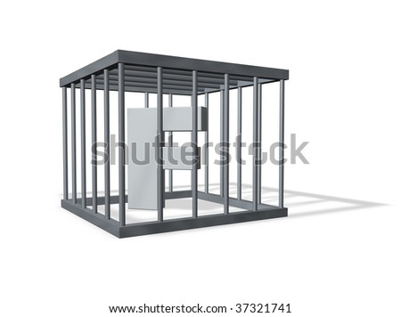 uppercase letter f in a cage on white background - 3d illustration - stock photo