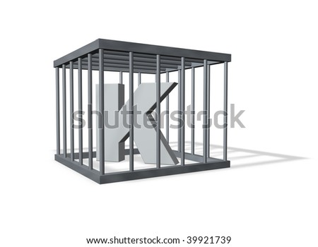 uppercase letter K in a cage on white background - 3d illustration - stock photo