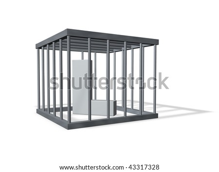 uppercase letter L in a cage on white background - 3d illustration - stock photo