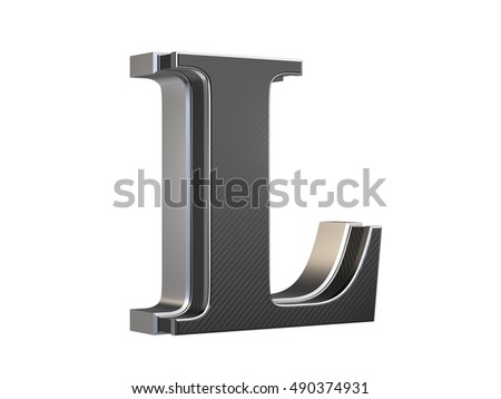 Uppercase Letter L - steel and carbon extruded letter isolated on white background 3D render