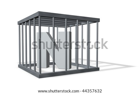 uppercase letter n in a cage on white background - 3d illustration - stock photo