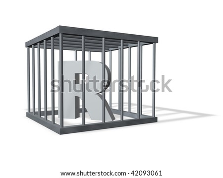 uppercase letter R in a cage on white background - 3d illustration - stock photo