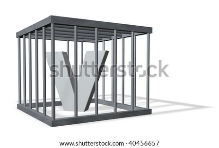 uppercase letter V in a cage on white background - 3d illustration - stock photo