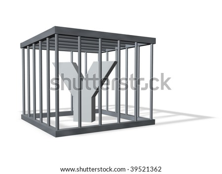 uppercase letter Y in a cage on white background - 3d illustration - stock photo