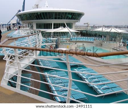 Upperdeck cruiseship - stock photo