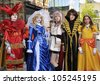 UPPSALA, SWEDEN - JUNE 15: Unidentified young people in Swedish character cosplay pose in Anime and Manga event. The official name is Uppsalakaj and org are uppcon in Uppsala Sweden June 15, 2012 - stock photo