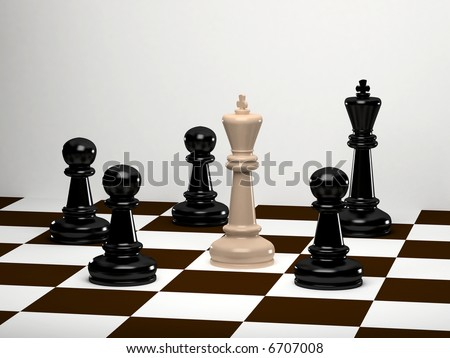 Upright black chess king with white king tipped over - stock photo