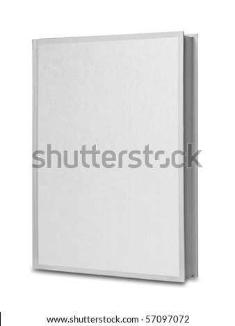 Upright book with white canvas front, separate shadow and clipping path