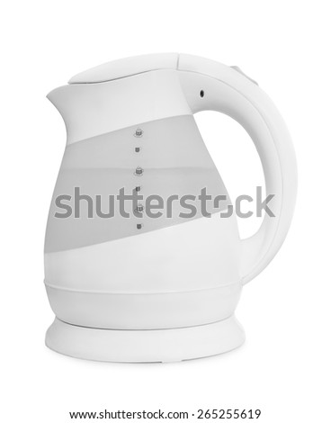 Upright electric kettle isolated on white - stock photo