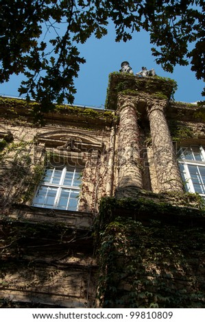 Upright view of the Vajdahunyad castle overgrown with ivy. Located in the main city park of Budapest, Hungary - stock photo